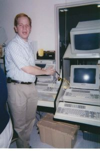 caught mid-sentence while shutting down the mainframe, 1999